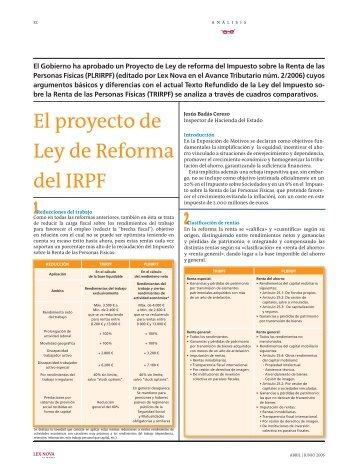 El proyecto de Ley de Reforma del IRPF - Lex Nova