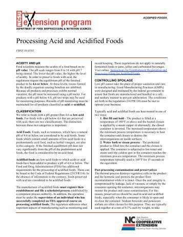 Processing Acid and Acidified Foods - Aggie Horticulture