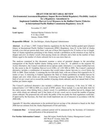 Draft for Secretarial Review EA/RIR/IRFA - National Marine ...