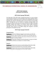 AISJ Foreign Language Curriculum Guiding Philosophy