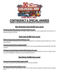 CONTINGENCY & SPECIAL AWARDS - Charlotte Motor Speedway
