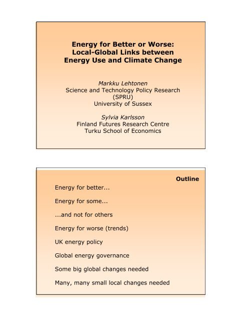 Energy for better or worse: local-global links between energy use ...