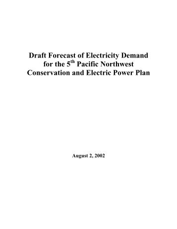 pacific northwest electricity demand forecast - Western Governors ...