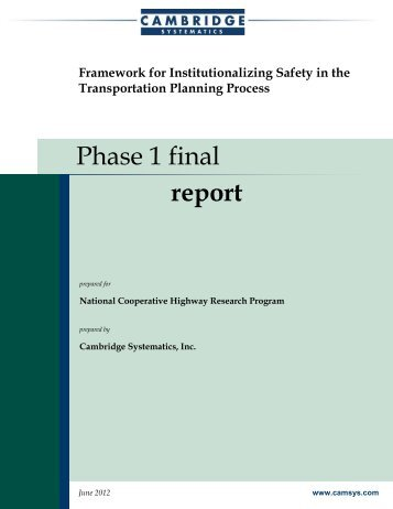 Institutionalizing Safety in the Transportation Planning Process