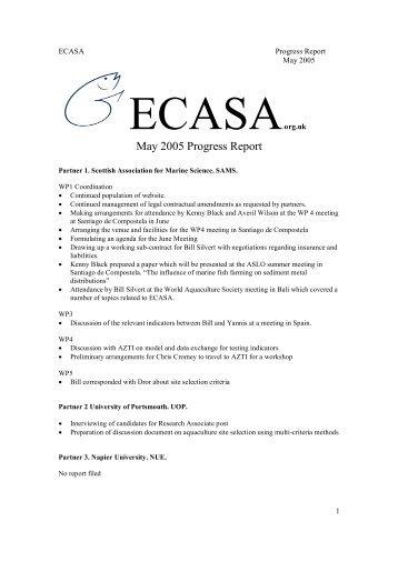 May 2005 Progress Report - ecasa