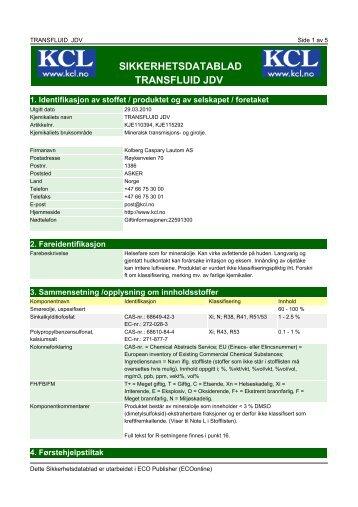 sikkerhetsdatablad transfluid jdv - Kolberg Caspary Lautom AS