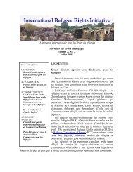 (L'initiative internationale pour les droits du réfugié) Nouvelles des ...