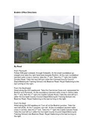 Bodmin Office Directions By Road From ... - Royal Haskoning