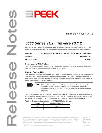 3000/E v3.1.2 TS2 Firmware Release Notes - Peek Traffic