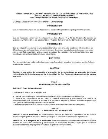 normativo de evaluacion del cundech - Usac