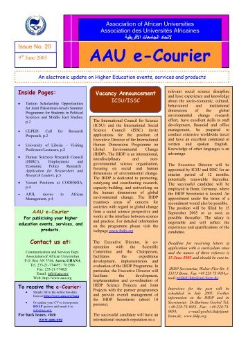 AAU e-Courier - AAU Resource Center - Association of African ...