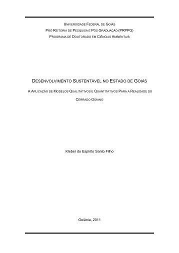 desenvolvimento sustentável no estado de goiás - PRPPG - CIAMB ...