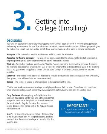 3. Getting into College (Enrolling) - Meredith College