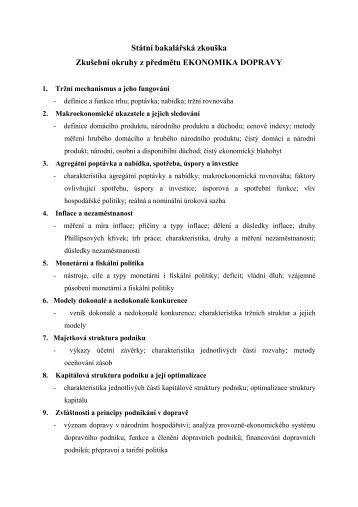 Ekonomika dopravy - Univerzita Pardubice