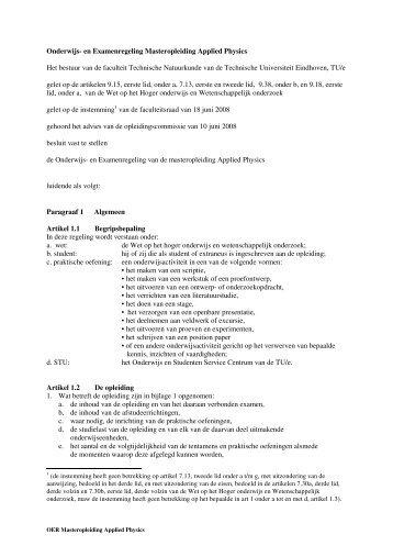 Onderwijs- en Examenregeling Masteropleiding Applied Physics ...