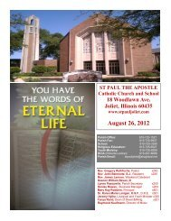 August 26, 2012 - St. Paul the Apostle Church - Diocese of Joliet