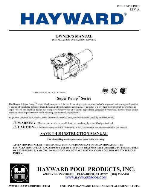 hayward super pump™ series owner\u0027s manual pool center Hayward Super Pump SP2607X10 Hayward Super Pump Manual #5