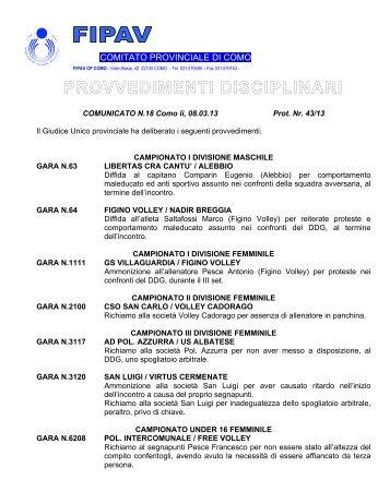 Provvedimenti Disciplinari n. 18 del 08.03.13 - FIPAV Como