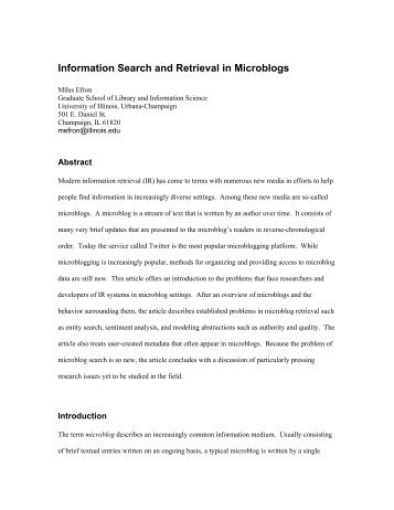 Information Search and Retrieval in Microblogs - Illinois
