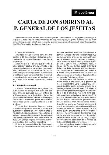 CARTA DE JON SOBRINO AL P. GENERAL DE LOS JESUITAS