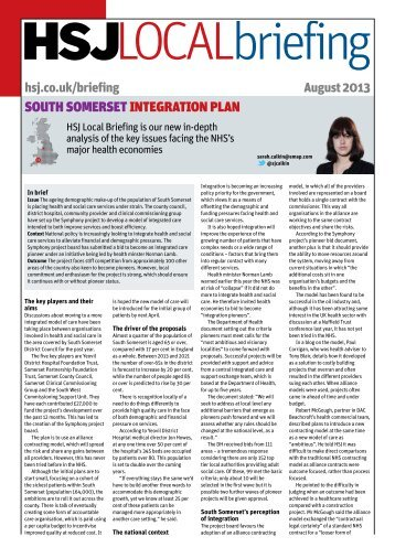 South Somerset integration plan - Health Service Journal
