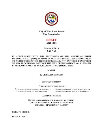 City of West Palm Beach City Commission AGENDA March 4, 2013 ...