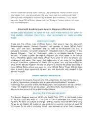 Bluetooth Breakthrough Awards Program Official Rules