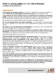 Tarifs des services publics de la ville d'Aix-en-Provence