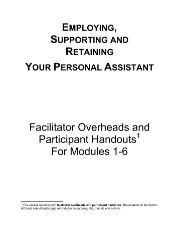 Facilitator Overheads and Participant Handouts For Modules 1-6 - PHI