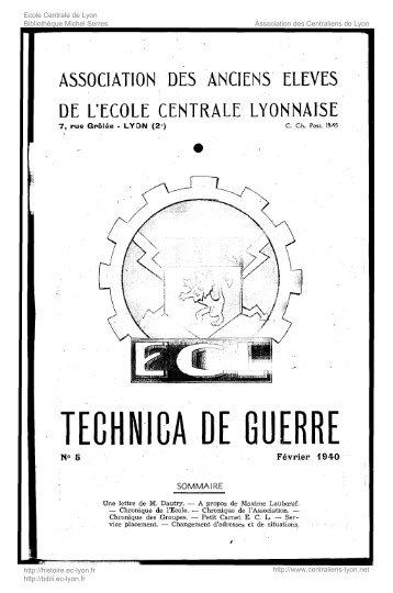 Revue Technica, année 1940, numéro 5 - Histoire de l'École ...