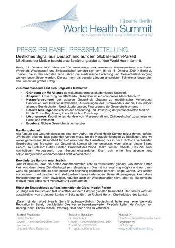 Deutliches Signal aus Deutschland auf dem Global-Health-Parkett