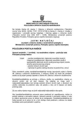 javninatje č aj policijska postaja našice - Ministarstvo unutarnjih ...