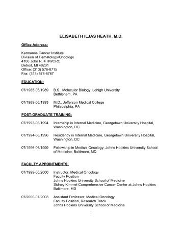elisabeth iljas heath, md - Division of Hematology/Oncology - Wayne ...