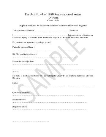 Application form for inclusion a claimer's name on Electoral Register