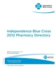 Independence Blue Cross 2012 Pharmacy Directory