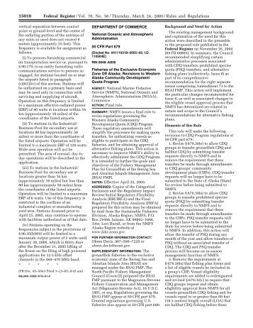 Final rule - National Marine Fisheries Service Alaska Region - NOAA