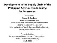 Development in the Supply chain of the Philippine Agri-tourism ...