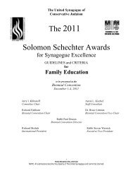 for Family Education - United Synagogue of Conservative Judaism