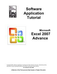Advanced Excel 2007 - West Chester University