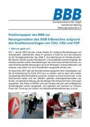 Positionspapier zur Neuordnung des SGB II-Bereiches
