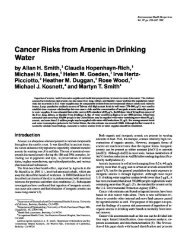 Cancer Risks from Arsenic in Drinking Water