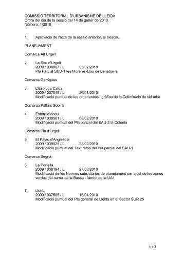 1 / 3 COMISSIÓ TERRITORIAL D'URBANISME DE LLEIDA Ordre ...