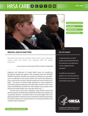 MENTAL HEALTH MATTERS - HRSA HIV/AIDS Programs