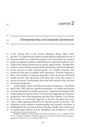 Entrepreneurship and Corporate Governance - WordPress – www ...