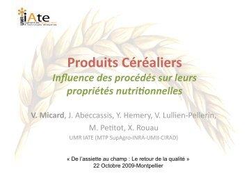 Produits céréaliers - Influence des procédés sur leurs propriétés ...