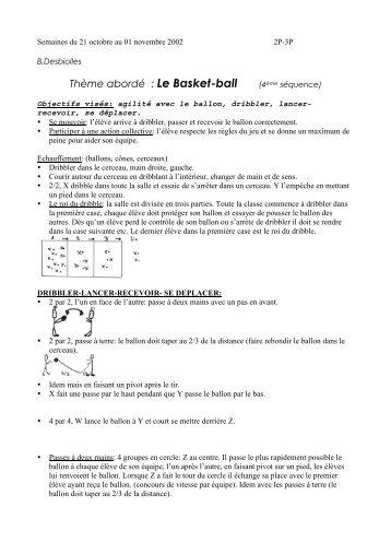 Thème abordé : Le Basket-ball (4ème séquence) - Ge.ch