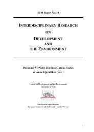 Interdisciplinary Research on Development and the Environment