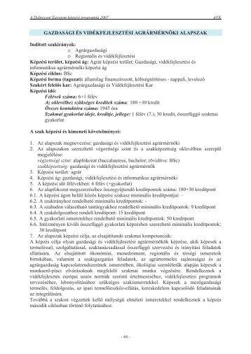A Debreceni Egyetem - Debreceni Egyetem Agrár