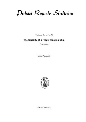 The Stability of a Freely Floating Ship - PRS