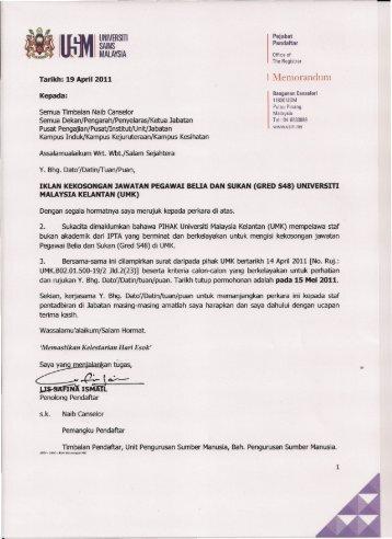 (gred s48) universiti malaysia kelantan (umk) - Jabatan Pendaftar